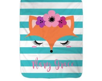 Personalized Fox Furry Fleece Blanket, Woodland Decor Monogram Baby Blanket, Flower girl Gift