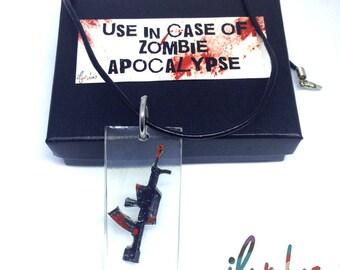 Gun Pendant Necklace, Zombie, Resin Jewelry, Zombie Apocalypse, zombie jewelry, zombie necklace, halloween, Undead, Walking Dead, weapon