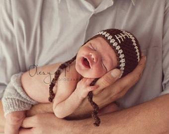Baby Football earflap hat, Baby football hat, Baby sport hat, Newborn football hat Photo prop