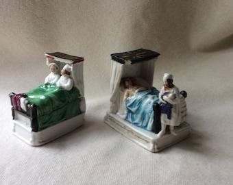 Antique Porcelain Staffordshire Fairings - Victorian Wedding Gifts - GentlemanlyPursuits-Vanity Table Boxes -Bathroom Decor