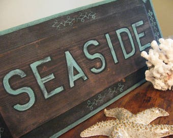 SALE Seaside Hand Painted DETAILED Antique Style LARGE Sign Salvaged Wood Panel Color Layers Intricate Heart Pine  Grain Victorian Nautical