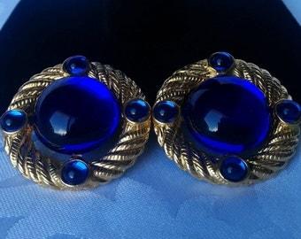 Park Lane Earrings, Royal Blue and Gold Earrings, Vintage Park Lane Jewelry, Vintage Earrings