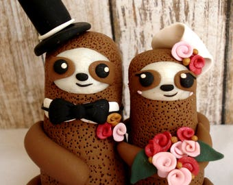 Sloth Cake Topper Sloth Bride and Groom Wedding Cake Topper Sloths Sloth Wedding Spring Wedding Ideas Sloth Wedding Cake Topper