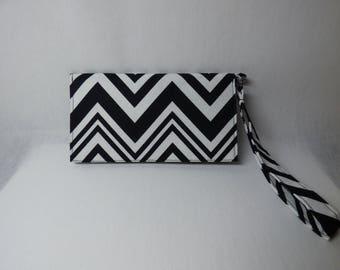 Black and White Chevron Wristlet / Wallet / Phone Case