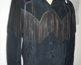 Scully Leather Black Suede Native American Fringe Western Jacket