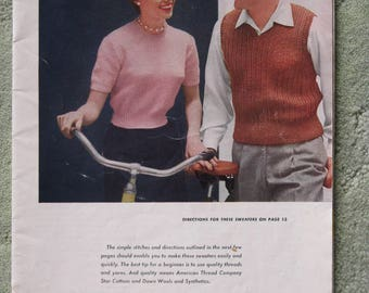 FREE SHIPPING...1950's knitting patterns for baby, women, men, has lost its cover but has first 30 pages