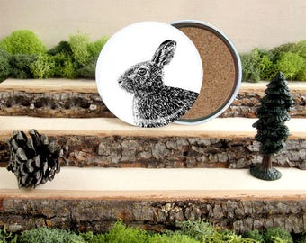 Rabbit Coaster Set - Cotton tail bunny Home Decor - Gift for Animal Lover or Outdoorsman Guy Gift - Cork-Bottom Coaster Set