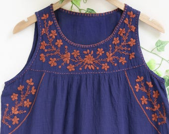 Hand Embroidered Flower Top, Sleeveless Summer Cotton Top, Handmade Women's Blouse, Loose Fitting Round Neck Top in Blue