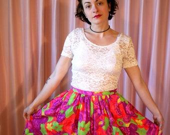 60s Neon Floral Midi Circle Skirt, Sir James