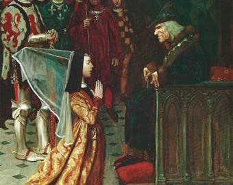 The King Glared Down at Her by Howard Pyle, Vintage 1975 9x11 Color Book Art Print, Young Maiden, FREE SHIPPING