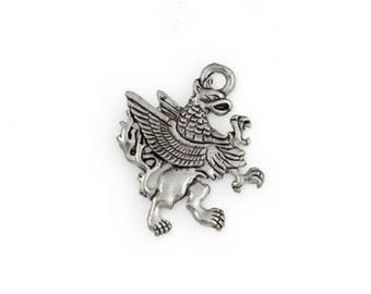 Griffin Pendant Pewter Charm Antique Silver Tone Griffon Gryphon Animal