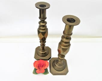 Vintage Brass Candlesticks | Brass Candle Holders | Diamond Shape Decor | Harlequin