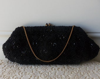 Black Clutch - Hand Beaded in France, Designer Bag, Bags by Josef, High Quality, 75 to 100 Years Old, Collectible:   BBD-907