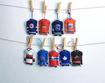 Hockey Ornaments- Set of 9 hockey jersey ornaments-Canadian  hockey teams