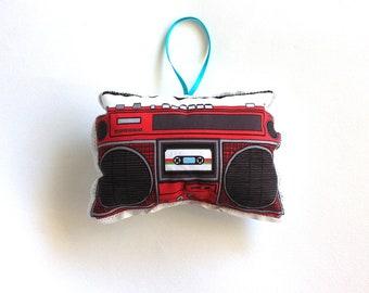 Boom Box  Ornament: 1980s Ghettoblaster cassette player Christmas ornament