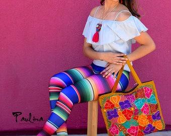 Sarape Printed Mexican Blanket Inspired Textiles Leggings