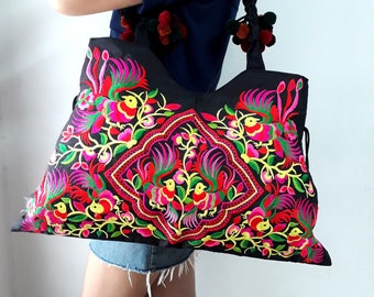 Ethnic Hmong Vintage style Tote Thai Shoppers Shoulder Bag
