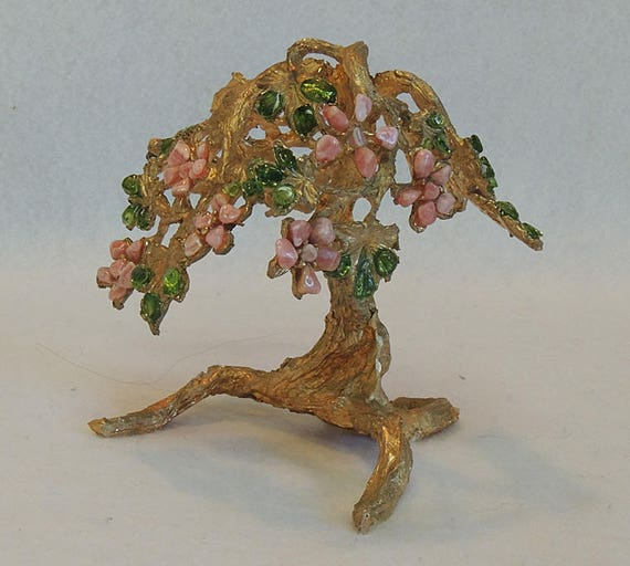 Vintage Mid Century 5 Inch Ming Tree..  Goldtone Cast Metal & Glass Jeweled