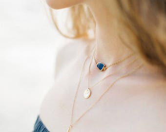 Dainty Gemstone Slice Necklace, 14k Gold Filled Layering Necklace, Lapis Lazuli Gemstone Choker, Bridesmaid Gift, Gift for Her, Boho Chic