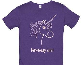 Birthday Shirt Unicorn Birthday Girl Tee - Birthday Present Top - Multiple Colors - Kids Tshirt Soft PolyCotton Blend Gift Friendly