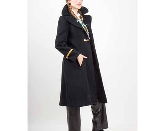 Vintage wool princess coat / 1960s Mod Military styled black winter coat / Muriel Reade for Joseph Stein / Gold chain mesh
