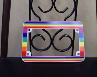 Small Vintage Rainbow Bike Motorcycle License Plate Frame
