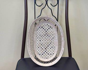 Vintage Oval Woven Basket Wall Decor Key Mail Holder