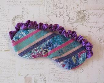Chrysanthemum Stripe Sleep Mask in Jewel Tones // Cotton & Satin Eye Mask