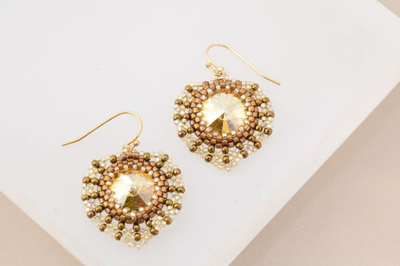 Gold Sun Earrings, Gold and Bronze Beaded Dangle Earrings, Gift for Her, Copper and Gold, Holiday Earrings