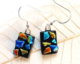 Colourful glass earrings ~ dichroic glass earrings, fused glass drops, dichro jewelry, unique ear rings, gift for women, present for her