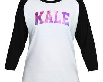Kale Shirt - Galaxy Kale T-Shirt - Galaxy - Vegan - Vegetarian - Funny Text - Lady Women Teen Girl 3/4 Sleeve Baseball T-Shirt #IZWBSUB63