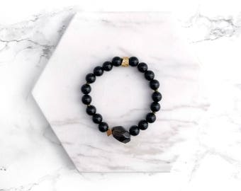 Black Gemstone Bracelet, Beaded Stacking Bracelet, Gold Bracelet, Beaded Bracelet, Boho Bracelet, Gifts for her, Modern Stacking Bracelet,
