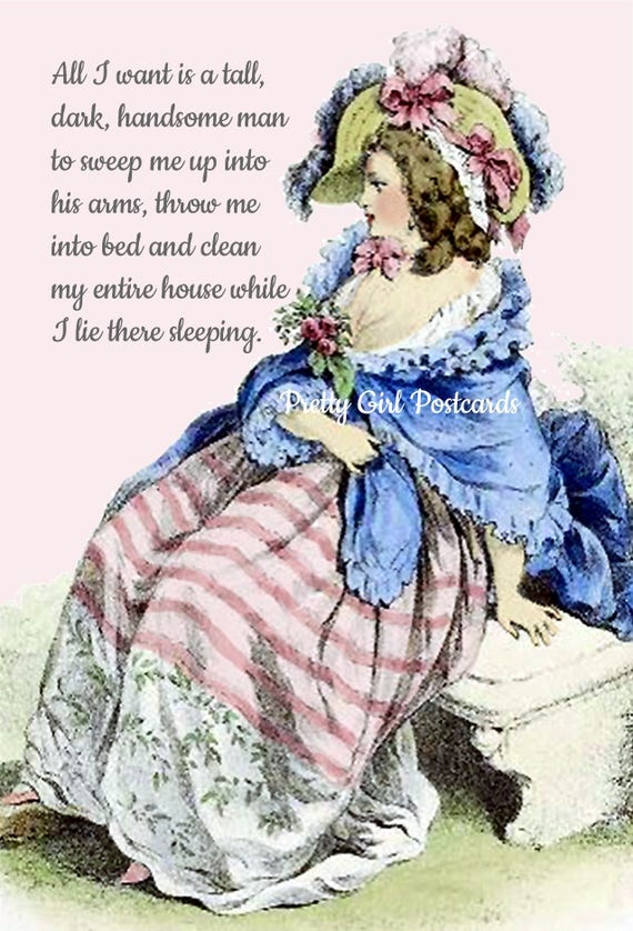 Marie Antoinette Card Witty Saying Postcard Funny Quote Pretty Girl Postcards Clean House Handsome Man Hilarious