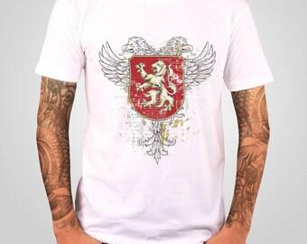 Lion Eagle T Shirt , Mens T Shirt , Medieval Knights Shirt , Unisex T Shirt , American Apparel TShirt , Graphic T shirt , Gift for Dads ,