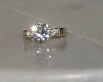 White Sapphire Three Stone Engagement Ring