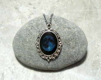 Blue Full Moon Necklace Pendant Jewelry