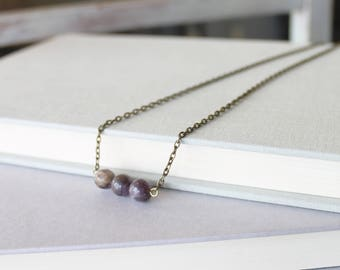 Rough Amethyst Necklace - Amethyst Bar Necklace - Gemstone Bar Necklace - Boho Amethyst Jewelry - Boho Gemstone Jewelry - Bohemian Jewelry