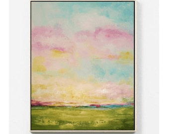 abstract painting landscape green  large abstract  painting