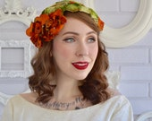 Vintage Hat with Green Velvet Leaves and Orange Flowers with Sequins