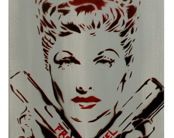 Lucille Ball Painting I Love Lucy Artwork Graffiti Pop Art Inspired 11x14 Portrait of Lucille Ball I Love Lucy Original Painting