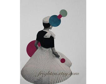 Surreal Art Retro One of a Kind Paper Collage Geometric Wall Art 8.5 x 11 Inch Original Collage on Paper
