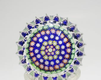 Vintage Signed Perthshire Close Packed Concentric Millefiori Fluted Door Knob Art Glass Paperweight, Perthshire Art Glass Paperweight