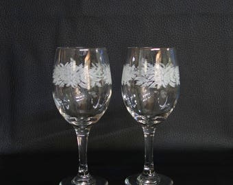 Large Vintage Libbey Glass Frosted Bow & Holly Christmas Wine Goblets Libbey Water Goblets 14 oz. Hand Blown Goblets Christmas Stemware
