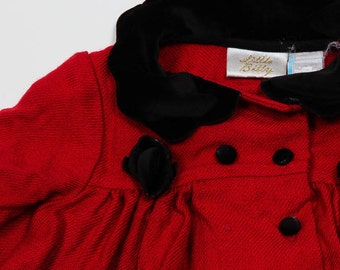 Toddler 2T 24 Months Vintage Girls Red Jacket | Red & Black Velvet | 4DD