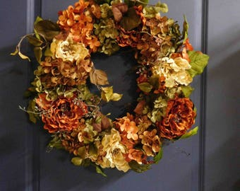 Fall Wreath, Autumn Wreath , Wreath , Fall Hydrangea Wreath ,  Wreath For The Door , Country Wreath , Hydrangea Wreath