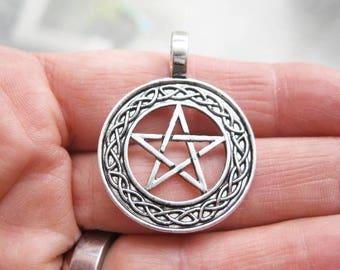 4 Celtic Pentagram Charms in silver tone - C2623