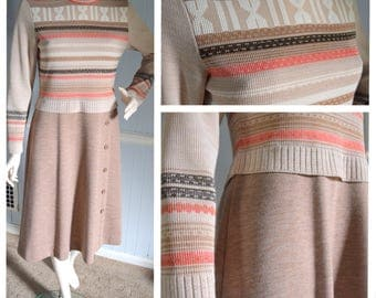 Vintage 1970s Striped Beige Tan Sweater Dress with Button Detail -- Office Wear // Autumn // Fall // Winter