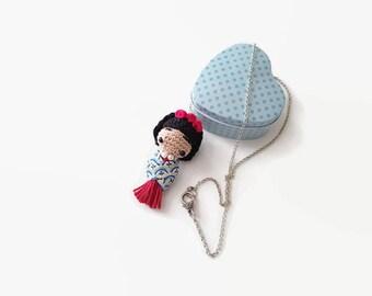 FRIDA KAHLO mini amigurumi doll necklace. Frida long necklace, Frida Pendant, OOAK doll, unique design necklace, gift for her, anniversary