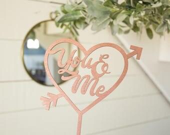 You & Me Cake Topper Wedding Cake Topper Heart Cake Topper