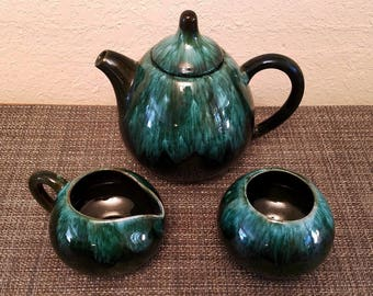 Vintage Blue Mountain Pottery (BMP) Drip Glaze Tea Set - Tea Pot, Cream Pitcher, and Sugar Bowl in Lovely Condition!